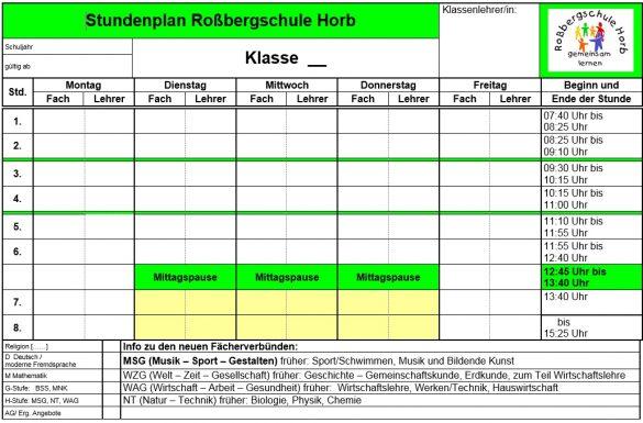 Rossbergschule Horb » Stundenplan